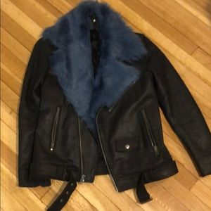 BLK DNM Leather Jacket with Removable Fur Collar